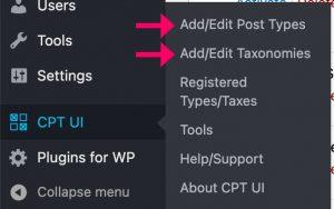 CPT UI menu options