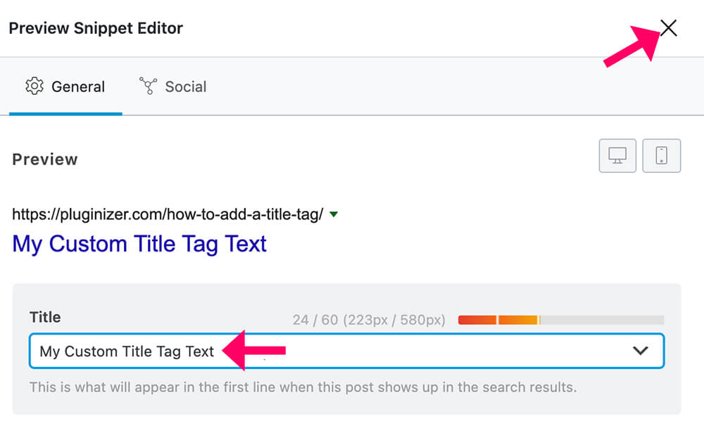 Change title tag with Rank Math copy