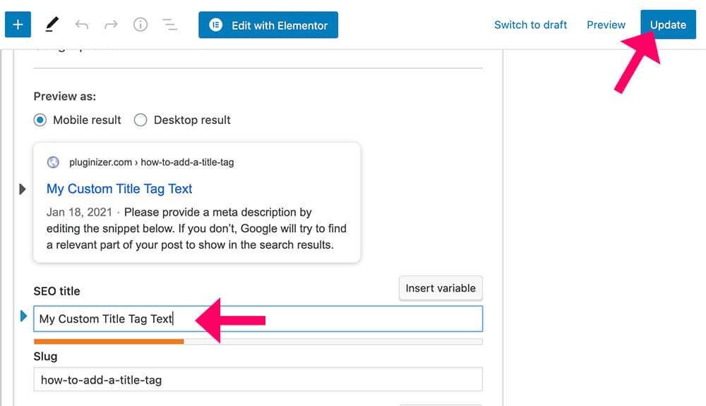 Edit title tag with Yoast