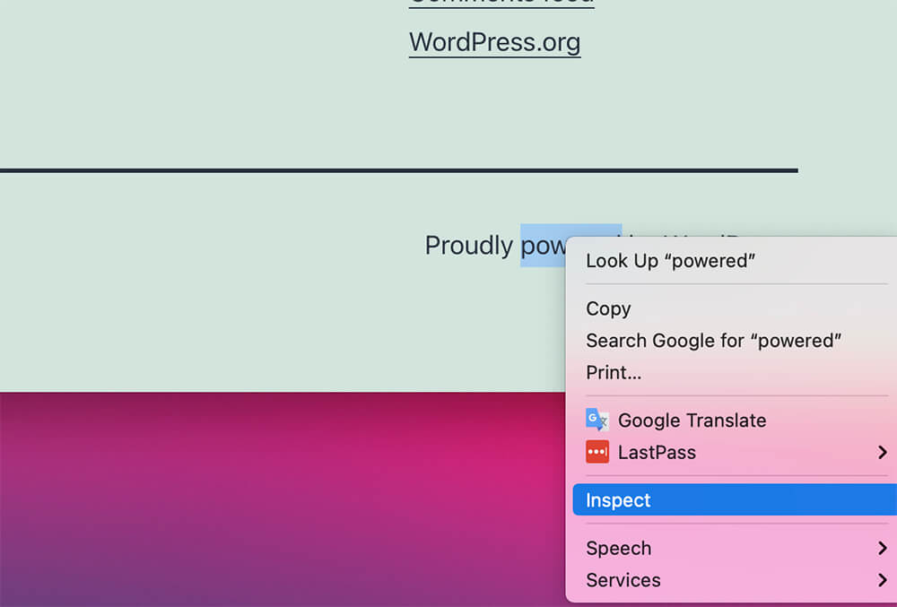 Inspect powered by wordpress text