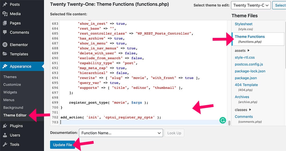 Pasting the code in the functions php file