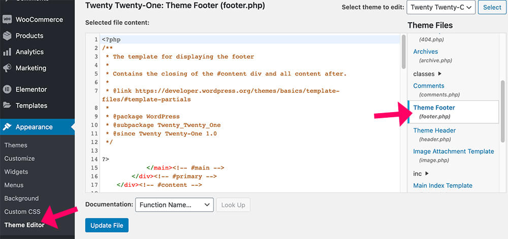 Template footer file