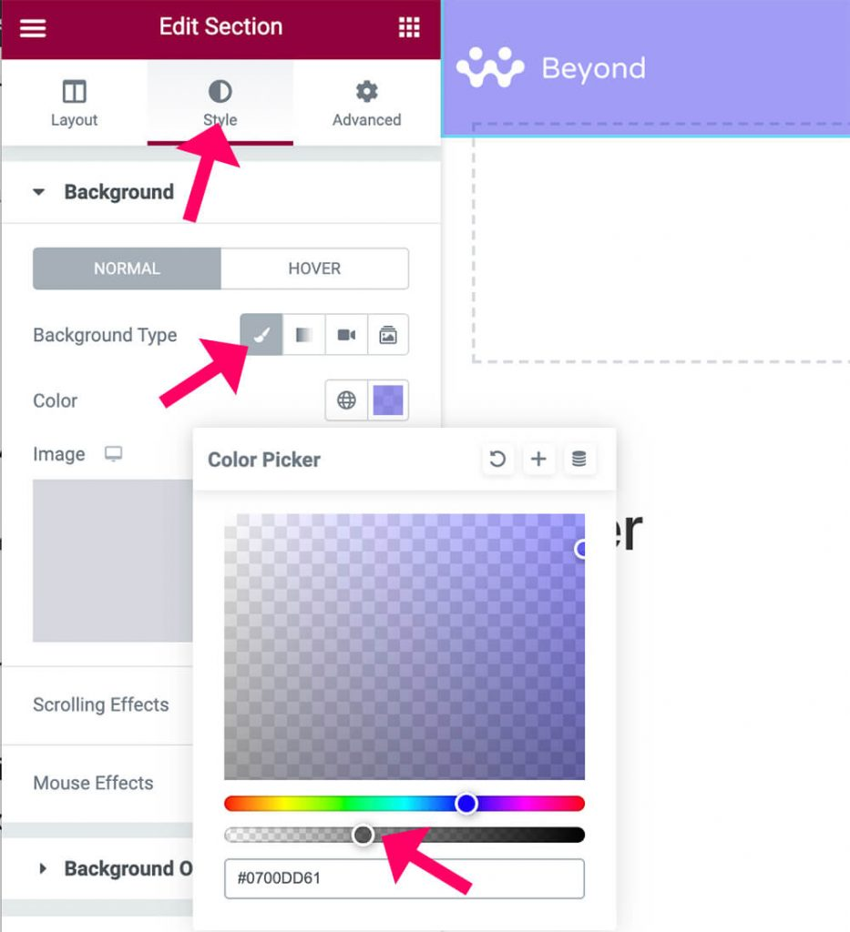 See-through background color