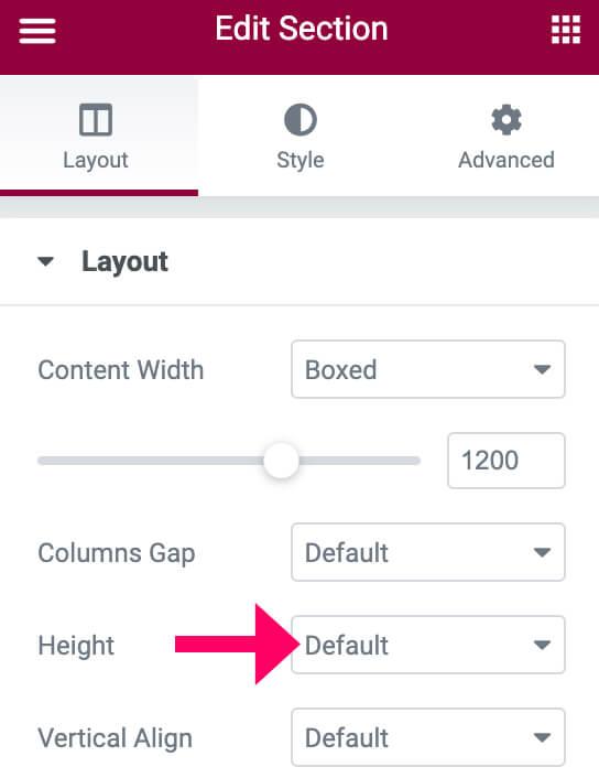 Set header's height to default