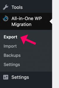 All in one migration export