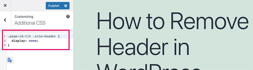 Remove header for a specific page in WordPress