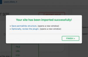 Site imported successfully