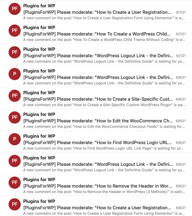 Spam notification
