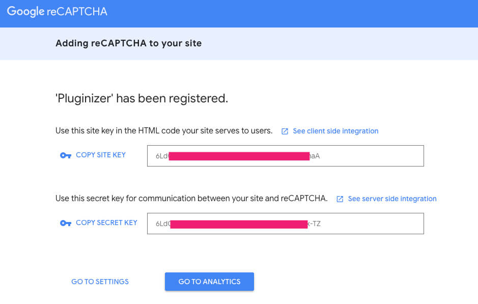 reCaptcha API Keys