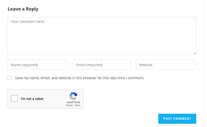 reCaptcha was added to WordPress comment form