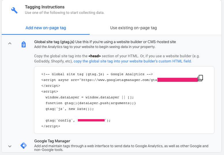 Copy the Google Analytics Code