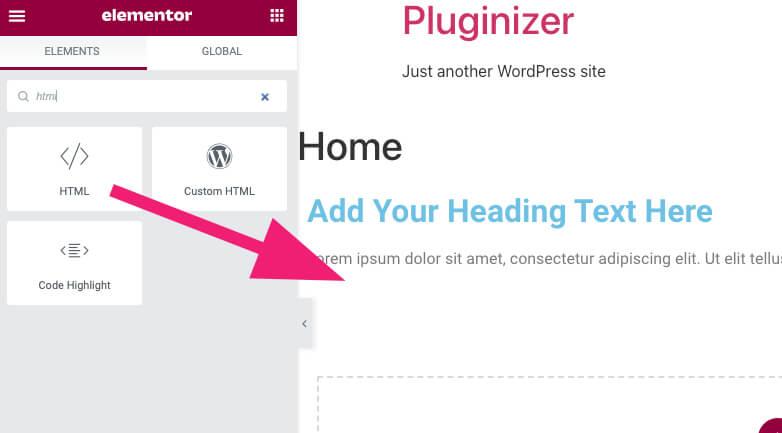 Use the Elementor HTML widget to add the analytics code