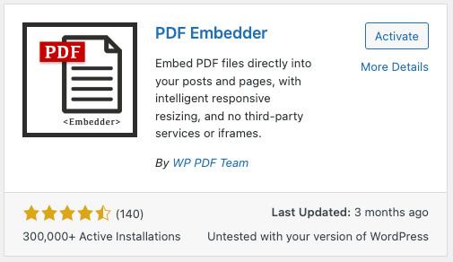 PDF Embedder plugin