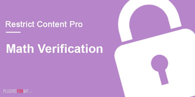 Restrict Content Pro – Math Verification
